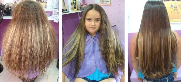 Antes e depois Escova Progressiva Salvatore Blue Gold alisa