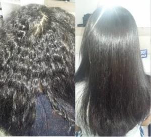 escova de diamante antes e depois cabelo crespo